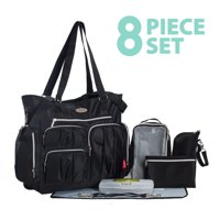 SoHo Collection, Times Square 8 pieces Diaper Tote Bag set (Classic Black)