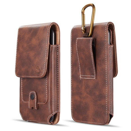 Luxmo Vertical Series Phone Holder Compatible with ZTE ZFive G LTE Z557BL, ZFive C LTE Z558VL, Blade Vantage, Avid 4, Avid 557 - PU Leather Belt Holster Pouch Case with Inner Card Slots - Brown