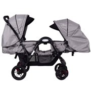 Costway Foldable Face To Face Twin Baby Stroller Double Kids Infant Reclining Seats Gray