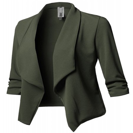 JustVH Women's Long Sleeve Open Front Lightweight Work Office Blazer Jacket