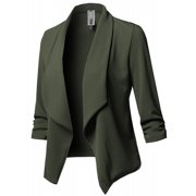 low priced a0eec 79d0a JustVH Women s Long Sleeve Open Front Lightweight Work Office Blazer Jacket