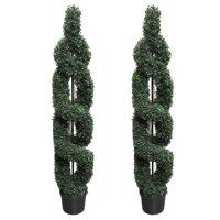 Admired By Nature 2' x 5' Artificial Boxwood Leave Double Spiral Topiary Plant Tree in Plastic Pot, Green
