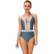 fced50d78ea SAYFUT Women's One-Piece Deep V-Neck Swimsuit Floral Lace Up Border Beach  Swimwear