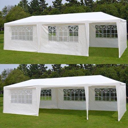 Zeny 10'x 30' White Gazebo Wedding Party Tent Canopy With 6 Windows & 2 Sidewalls-8 ()