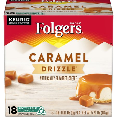 Folgers Caramel Drizzle Flavored Coffee, K-Cup Pods for Keurig K-Cup Brewers,