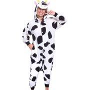 SILVER LILLY Unisex Adult Plush Animal Cosplay Costume Pajamas (Cow)