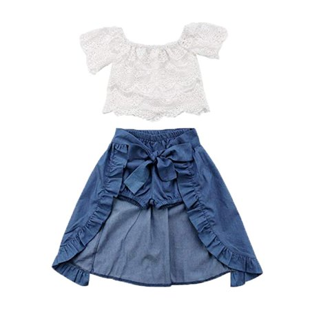 Baby Girl Kid Lace Off-Shoulder Shirt Blouse Top Short Pants Dress Party 3Pcs Clothes Outfit - Dress Kids