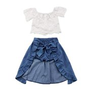 1b2db61471d1c Baby Girl Kid Lace Off-Shoulder Shirt Blouse Top Short Pants Dress Party  3Pcs Clothes