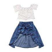 607a157f6 Baby Girl Kid Lace Off-Shoulder Shirt Blouse Top Short Pants Dress Party  3Pcs Clothes