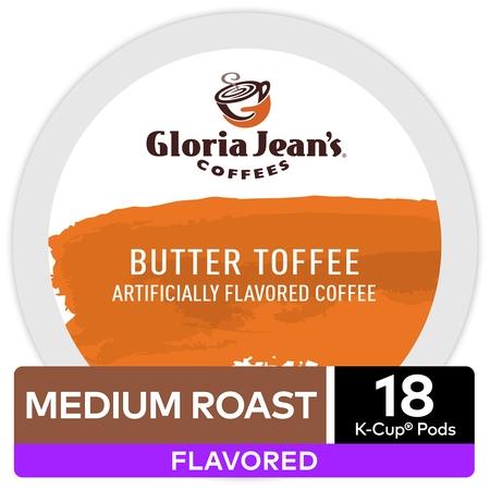 Gloria Jean's Coffee Butter Toffee, Flavored Keurig K-Cup Pod, Medium Roast, 18 -
