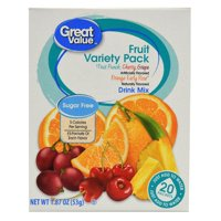 (4 Pack) Great Value Drink Mix, Fruit Variety Pack, Sugar-Free, 1.87 oz, 20 Count