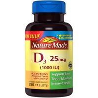 Nature Made Vitamin D3 1000 IU Tablets, 350 Ct