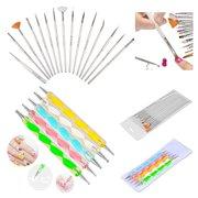 Zodaca 20pcs Pack Nail Art Design Set Dotting Painting Drawing Polish Brush Pen Tools Silver