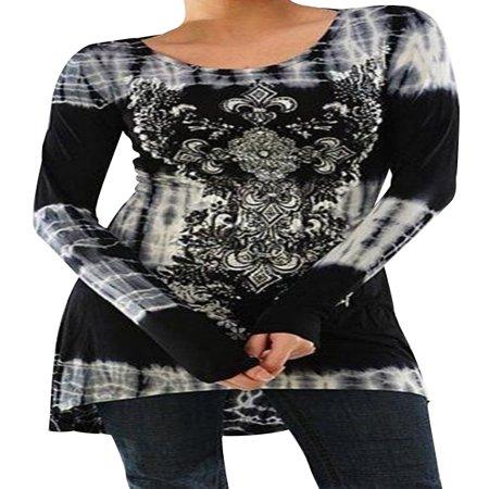 STARVNC Women Long Sleeve Boho Printing Colorblock Splice Tunic Top