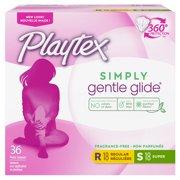 Playtex Simply Gentle Glide Tampons, Unscented, Multi-Pack 36ct. (18 Regular & 18 Super Absorbency)