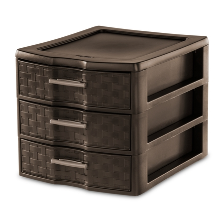 Sterilite Medium Weave 3 Drawer Unit, Epsresso (Available in Case of 4 or Single - Buddy Products Single Drawer