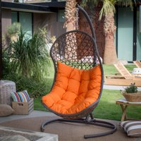 Belham Living Cocos Resin Wicker Hanging Egg Chair with Cushion and Stand