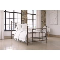 DHP Manila Metal Bed with Victorian Style Headboard and Footboard, Includes Metal Slats, Multiple Sizes and Finishes