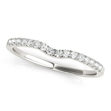 14k White Gold Curved Pave Setting Diamond Wedding Ring (1/8 cttw) (14k Pave Diamond Ring Setting)