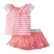 d128a5d3892 Little Lass Infant Girls Pink   White Striped Top   Scooter Outfit 2 PC Set