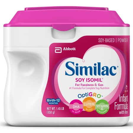 Similac Soy Isomil For Fussiness and Gas Infant Formula with Iron Baby Formula 1.45 lb (Earths Best Organic Infant Powder Formula With Iron)