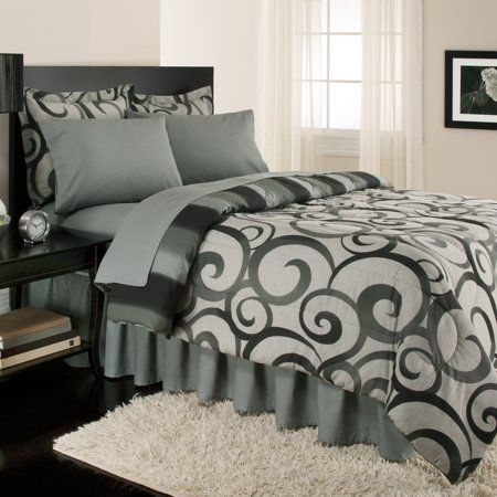 Sloane Street Alessandro Scroll, Reversible, Complete Set With Bonus Bed Skirt By Royale Linens ()