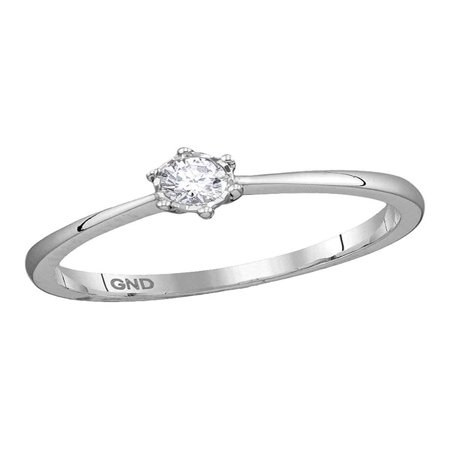 - 10kt White Gold Womens Round Diamond Solitaire Bridal Wedding Engagement Ring 1/8 Cttw Diamond Fine Jewelry Ideal Gifts For Women Gift Set From Heart