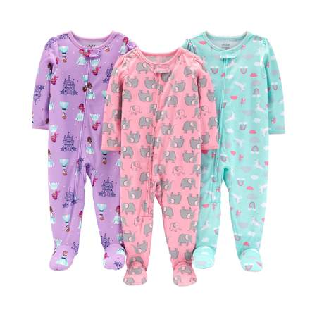 18m Carters 2 Piece (Child of Mine by Carter's One piece footed poly pajamas, 3pk (baby girls & toddler girls) )