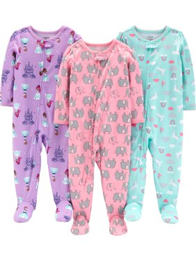 One Piece Footed Snug Fit Cotton Pajamas, 3 pack (baby girls)