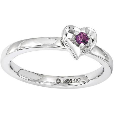 Rhodolite Garnet Sterling Silver Heart Ring