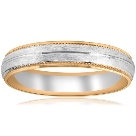 14k Yellow & White Gold Two Tone 6mm Facet Cut Wedding Band Mens