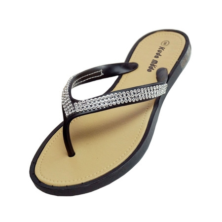 Women's Summer Bling Shinning Rhinestone Studded Strap Casual Thong Flat Flip Flops Sandals Slipper Close Back Thong Sandal