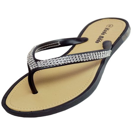 Women's Summer Bling Shinning Rhinestone Studded Strap Casual Thong Flat Flip Flops Sandals (Minnetonka Leather Flip Flops)