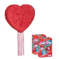 Red Heart Pull String Pinata & Valentine Fun Dip Sour Candy Bundle