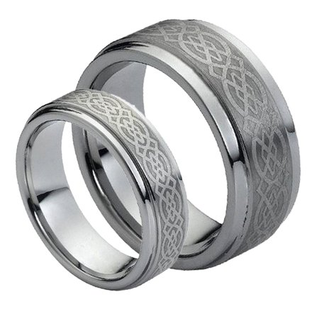 Celtic Diamond Wedding Rings (His & Her's 8MM/6MM Tungsten Carbide Wedding Band Ring Set w/Laser Etched Celtic Design )