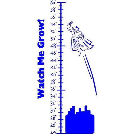Superman Room Decor (Custom Wall Decal Superman Growth Chart Kids Bed Room - Sticker - Vinyl Wall 38x20