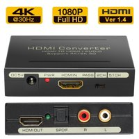 ESYNIC HDMI Audio Extractor 4Kx2K HDMI to HDMI SPDIF RCA L/R Audio Video Converter Adapter 3D HDMI Video Audio Adapter Converter support PASS 2.0CH 5.1CH Audio Output for Xbox360 PS3 Blu-ray DVC HDTV
