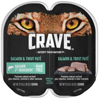 (24 Pack) CRAVE Grain Free Adult High Protein Wet Cat Food Pate Salmon & Trout, 2.6 oz. Twin-Pack Tray