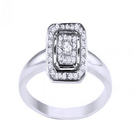White Natural Diamond Promise Cluster Band Ring In 10k White Gold ()