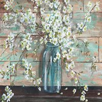 Beautiful Watercolor-Style Blossoms In A Mason Jar Floral Print by Tre Sorelle Studios; One 16x12in Unframed Paper Posters. Teal/Brown/Cream