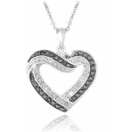 2 Tone Diamond Heart - 0.50 Carat T.W. Black and White Diamond Silver-Tone Open Heart Necklace