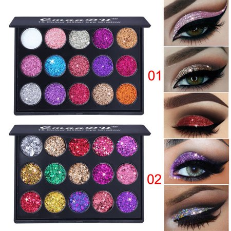 DZT1968 2Pcs Shimmer Glitter Eye Shadow Powder Palettes Matte Eyeshadow Cosmetic Makeup - Skeleton Eye Makeup