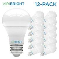 Viribright 60 Watt Equivalent LED Light Bulb, E26 Edison Base, Warm White (Soft White) 2700K, Pack of 12