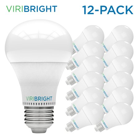 Viribright 60 Watt Equivalent LED Light Bulb, E26 Edison Base, Warm White (Soft White) 2700K, Pack of 12 - Led Lights Bulk