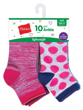 Hanes Fashion Colors Ankle Socks, 10 Pack (Little Girls & Big Girls)
