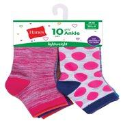 Hanes Fashion Colors Ankle Socks, 10 Pack (Little Girls & Big Girls)