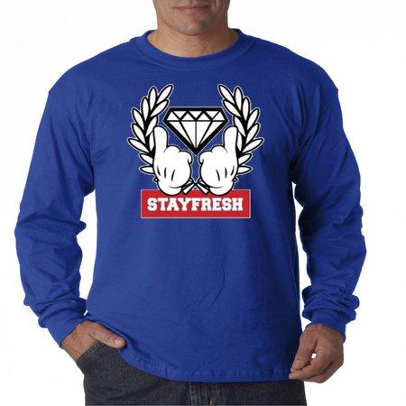 Rolyan Finger (Trendy USA 499 - Unisex Long-Sleeve T-Shirt Stay Fresh Fingers Up Diamond 3XL Royal Blue )
