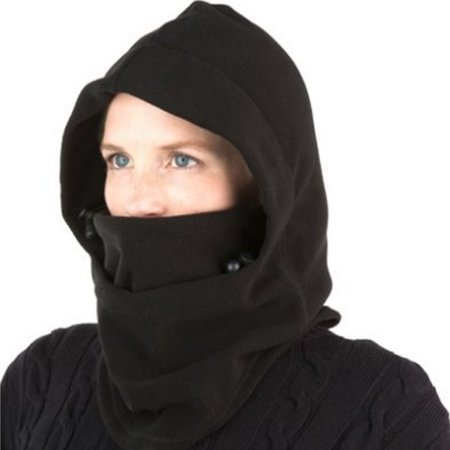 Unisex Windproof Ski Mask Balaclava Face Mask Neck Warmer Ski Hood Hat - black