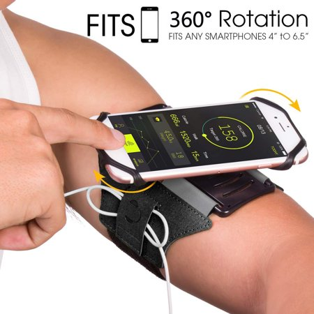 Sports Exercise Armband, 360° Rotatable Cellphone Sweatproof Arm Band Strap for Workout Running Hiking Biking w/ Adjustable Strap Built-in Key Holder Compatible Apple iPhone Android Smartphones- Black Black Adjustable Sports Armband
