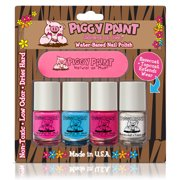 Piggy Paint - four pack Nail Polish LOL, Sea-quin, Glamour Girl, & Basecoat + Topcoat (2-in-1)